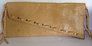 Cocoblanco Beige Tan Patent Leather Studded Fringe Clutch