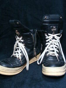 CHROME HEARTS SNEAKERS MEN CASUAL SHOES RICK OWENS BLACK WHITE USED LEATHER FS