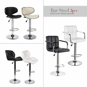 Set Of 2 Counter PU Leather Bar Stools Swivel Pub Chair Mid Back Dining Kitchen