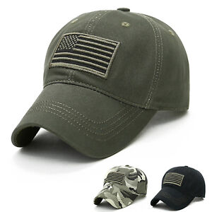 Men's US Flag Army Military Hat Baseball Snapback Sport Cargo Casual Ball Caps