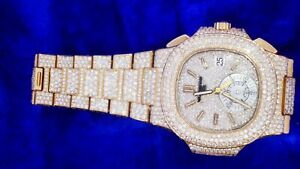 PATEK PHILIPPE Nautilus Rose Gold Chronograph 5980-1R-001 2800 Diamonds Iced Out