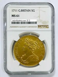 1711 Great Britain Anne 5 Guineas NGC MS61