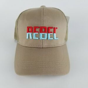 Rebel Fishing Lure Tan Hat Adjustable Back Trucker Cap Baseball NWT