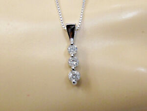 14 Carat Three 3 Stone Diamond Pendant Necklace Solid 10k White Gold
