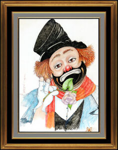 Red Skelton Freddie Clown Hand Signed Crayon Pastel Drawing On Linen Painting