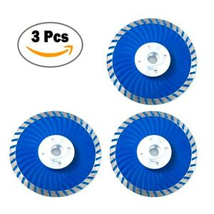 4.5 Inch Cold-Pressed Continuous Diamond Saw Blades Turbo Wave with Flange-3 Pcs