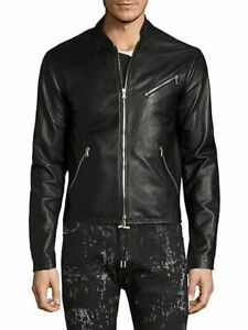 $1395 NEW Diesel Black Gold LIONEL Leather Jacket BLACK Size 40 Lambskin ITALY