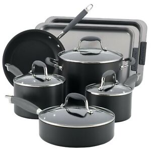 Anolon Advanced Hard Anodized Nonstick 9-Piece Cookware with 2-Piece Bakeware...