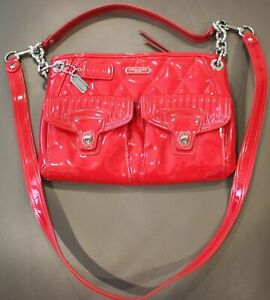 LK Coach Poppy Liquid Gloss Cherry Red Patent Leather Hand Bag