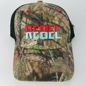 Rebel Fishing Lure Mossy Oak Camo Hat Adjustable Back Trucker Cap Baseball New