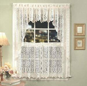 Hopewell Lace Kitchen Curtain Collection White or Cream NEW