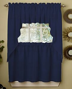 Ribcord Solid Navy color Kitchen Curtain Collection {NEW} $12.99