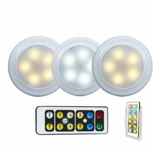 Wireless LED Puck light with Remote Control Holder 3 Pack, Under Cabinet Light