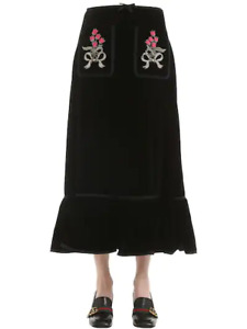 Gucci Black Velvet Patches Skirt Size IT40 New