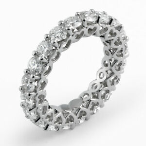 4 Ct Round Natural Diamond Wedding Heart Design Eternity Band Ring Platinum 950