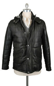 $1600 Barba Napoli Black Leather Jacket with Removable Hood  - (M8)