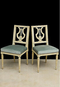 A SET OF SIX LOUIS XVI STYLE PAINTED LYRE BACK DINING CHAIRS CA 1920'S