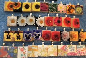 LOT 38 Sunflower Rose Daisy Scrabble Pendant Charms Handcrafted Flowers Gift #5