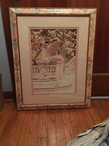 Victorian woman by water fountain in frame pastel color print painting $75.00