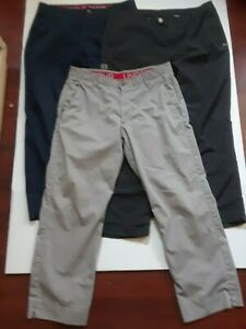 Lot of 3 Under Armour Mens Golf Pants Size 36 Black Gray & Navy