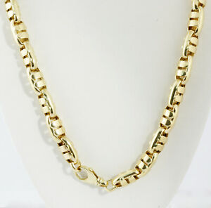 68.40 gm 14K Yellow Gold Men's Italian Hollow Bullet Chain Necklace 22