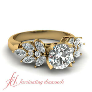 2 Carat Round Cut Beautiful Leaf Bud Design Diamond Rings For Women Yellow Gold
