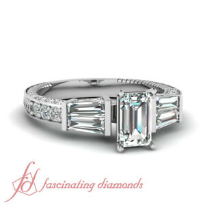 1.65 Ct Emerald Cut VVS1-H Color Diamond Sundry Design Pave Set Engagement Ring