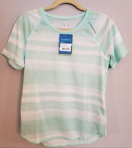 NWT Women's M Brooks Ghost Running Shirt Short Sleeve Striped Green Surf Scape