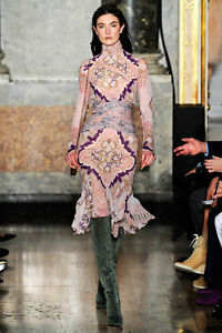 EMILIO PUCCI Runway Kaleidoscope Ruffled,Silk dress It 46,US 10-12,UK 14,L-XL