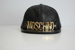 Moschino Letters Quilted Leather Baseball Cap Hat - Black  Gold - Medium