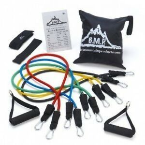 Workout Fitness Exercise Resistance Band Door Anchor Ankle Strap w Bag Kit Set