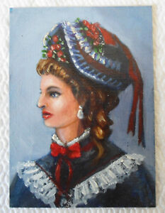 Victorian Woman Roses and Ribbons  ACEO miniature Oil Painting by Amando LaVann