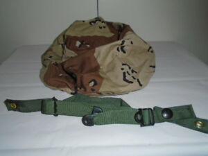 Vintage US Military Surplus Helmet COVER  6 COLOR CHOCOLATE CHIP+ chin strap