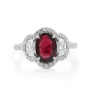 2.73 Ct Gorgeous Natural Red Ruby Beautiful Ring 18K White Gold GIA New Design