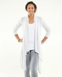 LULULEMON UNIVERSAL WRAP IN HEATHERED WHITE KNIT SIZE 6 THUMBHOLES