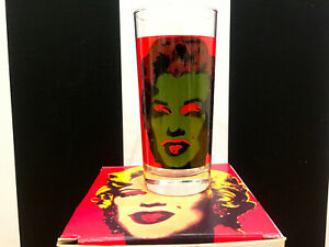 New Andy Warhol Signed Marilyn Monroe high ball art Block Ware glass 1997