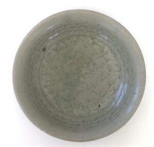 RARE Early SungSong Dynastay Celadon Conical Bowl Carved Peony Blossom Dish
