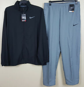 NIKE DRI FIT WOVEN WARM UP SUIT JACKET + PANTS BLACK GREY RARE NEW NWT (SIZE XL)