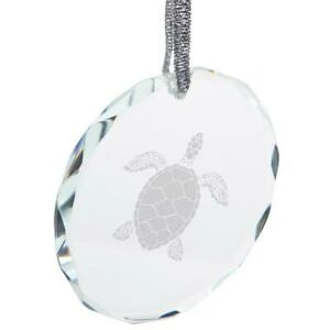 Summer Sun Sea Turtle Etched Round Crystal Ornament
