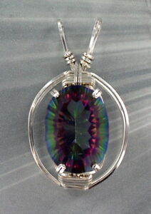 MYSTIC FIRE TOPAZ  GEMSTONE PENDANT NECKLACE STERLING WIRE WRAPPED