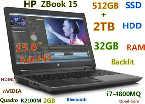 3D-Design HP ZBook i7-4800MQ (512GB-SSD 2TB 32GB) 15.6 FHD nVIDIA K2100M Backlit
