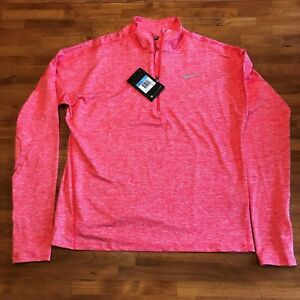 Nike DRI-Fit Running Top Med Coral 12 zip Shirt 60% off MSRP $65 -NEW Womens