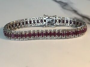 Sterling Silver 16.96 ctw Red Indian Ruby Bracelet