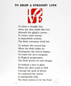 Robert Indiana, The Book of Love Poem - To Draw a Straight Line, Serigraph with