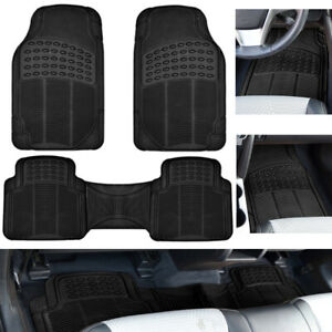 Car Floor Mats for Auto All Weather Rubber Liners Heavy Duty Fit Black 3pc Pack