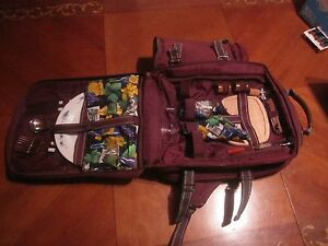 Red Purple Insulated backpack with picnic service for 2