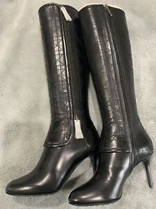 Dior Black Christian Knee High Round Toe Leather Boots 35 $1900 RARE