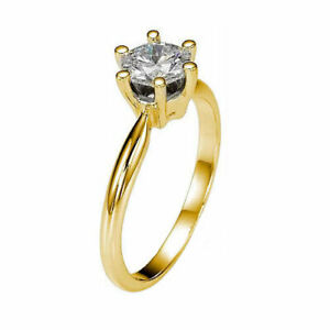GENUINE 2 12 CT DIAMOND ENGAGEMENT RING LADIES 18K YELLOW GOLD SOLITAIRE