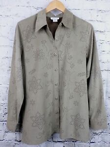 Coldwater Creek Womens Blouse Top M Brown Moleskin Floral Pointell