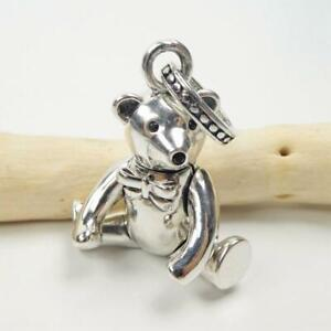 Adorable 15 Grams Shiny Sterling Silver Teddy Bear Charm Pendant Movable Parts!